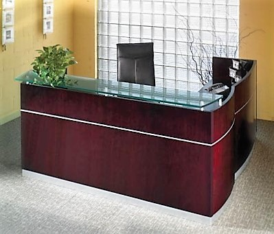 wood reception desk